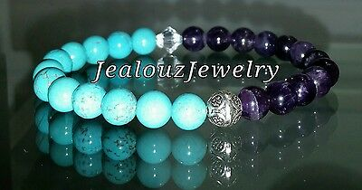 Sterling Silver Chakra Healing Turquoise Amethyst Gemstone Stretch Yoga Bracelet