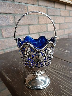 Silver Birmingham 1903 George Unite Footed Basket with Handle and Liner