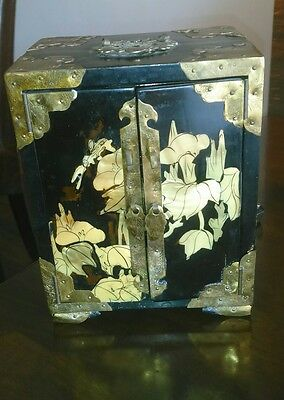 Chinese Vintage Black Lacquer and Mother of Pearl Jewellery Box