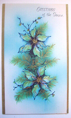 Blue green poinsettia  Christmas vintage greeting card *I