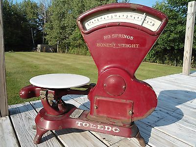 Vintage Antique Maroon Toledo Honest Weight Scale 5 Lb Old Postal Store