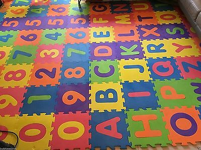 36pcs Soft EVA Foam Baby Kids Play Mat Alphabet Number Puzzle 15 x 15cm