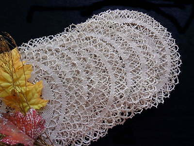 Placemat Set for 16: Handmade Bedfordshire Lace - A Modern Bauhaus Type Design