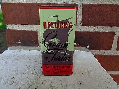 Vintage Hellick's Cream Of Tartar Spice Tin Can Easton Pa Kitchen Advertising