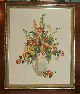 """Pitcher with Flowers Finished Framed Crewel 18"""" x 22"""""""