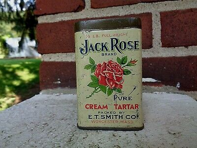 Vintage Jack Rose Worcester Mass Spice Tin Can Kitchen Advertising Graphic Sign