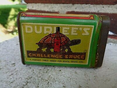 Vintage Durkee's Turmeric Spice Tin Can Kitchen Advertising Turtle Graphic Sign