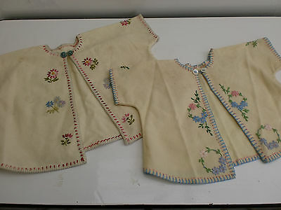 2 Antique Vintage Handmade Woolen Embroidered Baby Girls Jackets 1-2 Years