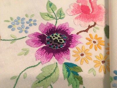 Vintage Hand Embroidered Linen Tablecloth BEAUTIFUL FLOWERS and SCROLLS