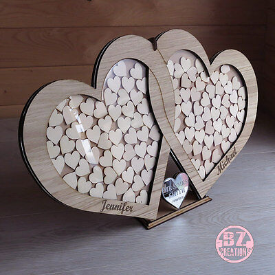 Personalised Mr&Mrs Surnane 2 Hearts Drop Box Oak Frame Wedding Love Guest Book