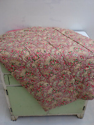 Antique Vintage Pink Paisley Patterned Satin Backed Eiderdown Quilt