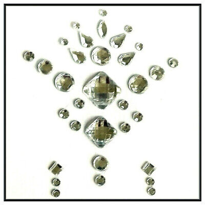 Geo Gems  Silver Face / Body & Eye Jewels  3 Piece  Design 17