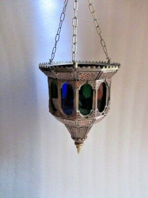 Antique Copper Chased Open Work  Glass Ceiling Light