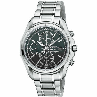 Seiko SSC001 Men's Solar Chronograph Alarm Stainless Steel Black Dial Watch
