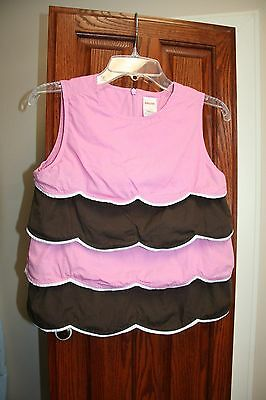 Gymboree Vintage VGUC 7 TEA FOR TWO Pink/brown scalloped tiered top Cake/Icing