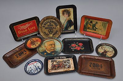 Group Lot Of 12 Vintage Beer, Fairy Soap, Cigars Advertising Small Trays