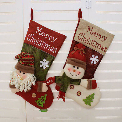 Large Personalised 3D Christmas Stocking Santa Snowman Candy Gift Collection Bag