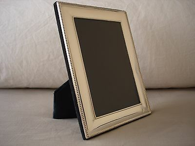 Large Solid Silver Photo Frame, Sterling 925, Plain /Beaded Edge, Sheffield 1994