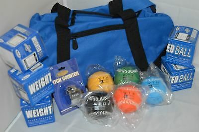 Heavy Weight Leather Baseball 6-Ball Pitcher Training Set, Pitch Counter, Duffle