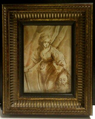 Old Master Drawing Judith and Holofernes Brown Ink on laid paper