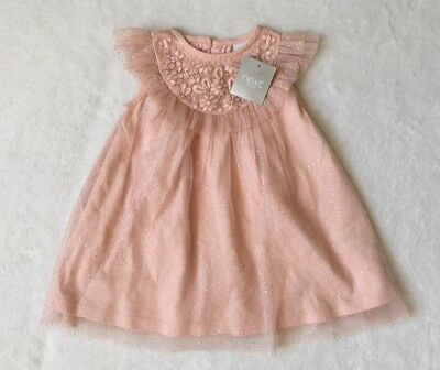***BNWT Next baby girls Pink sparkly party dress 9-12 months***