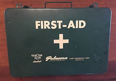 Vintage Large Industrial PULMOSAN First Aid Metal Kit Box 36 Unit Safety