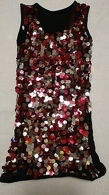 Medium Child Pink Silver Sequenced Sparkle Tank Solo Dance Competition Jazz Tap