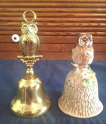 2 Vintage Owl Bells, Brass Dinner Bell Made In England, Towle Bone China Bell