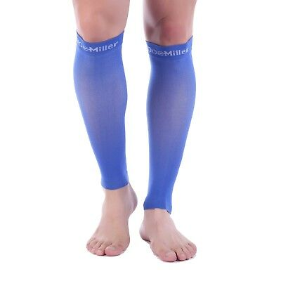 Doc Miller Calf Compression Sleeve 1 Pair 20-30mmHg Recovery Varicose Veins BLUE