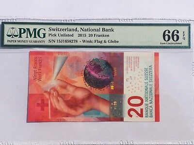 Switzerland, 2015 20 Franken PUnlisted PMG 66 EPQ