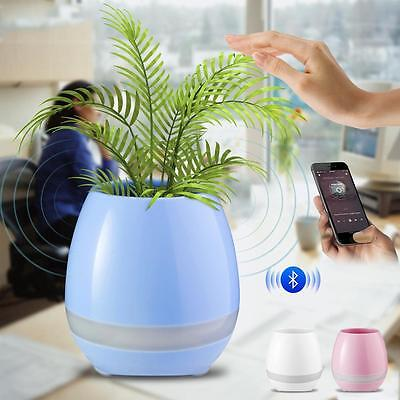 Bluetooth Plants Touch Play Music Speaker Flower Pot with Multi-color Light #G