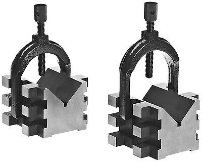 "Brown & Sharpe 4 Piece V Block and Clamp Pair Set 2"" Capacity 2-1/2""x2-3/4""x2"""