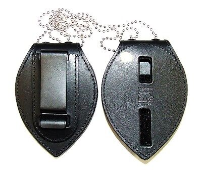 Strong Leather Badge Holder with Neck Chain - Shield