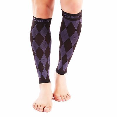Doc Miller Calf Compression Sleeve 20-30mmHg Recover Varicose Veins BLACK/PURPLE