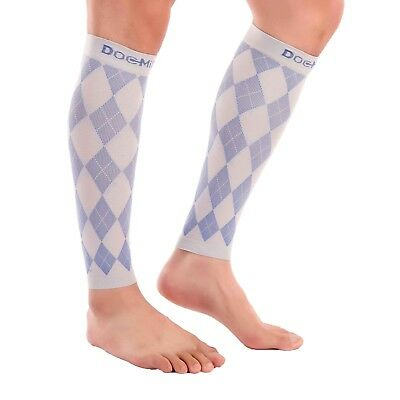 Doc Miller Calf Compression Sleeve 20-30mmHg Recovery Varicose Veins GRAY/BLUE