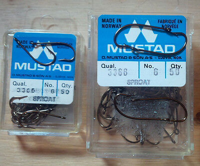 Mustad 3366, Sproat Fly Hooks, Various Sizes and Quantities, From Norway