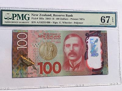 New Zealand, 2015-16 100 Dollars P195a PMG 67 EPQ