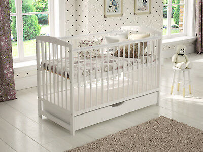 """Baby Cot Bed with Drawer Toddler Cot & White Deluxe 4"""" Aloe Vera Foam Mattress"""