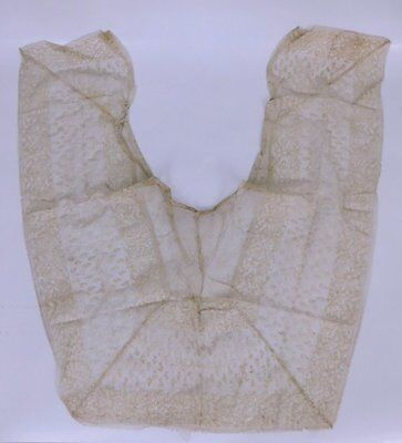 Antique Fancy Wide Dotted Swiss Net Geometric Lace Shawl Collar
