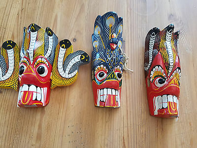 Hand Carbed & Painted Wood Masks Lot Of 3