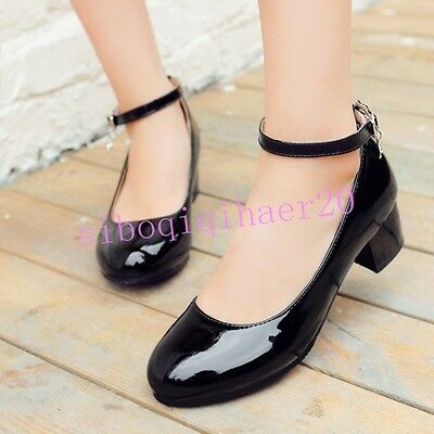 Womens Mary Janes Shoes Pumps Ankle Strap Patent Leather Low Chunky Heel Size 39