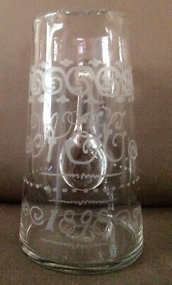 1898 Antique Etched Glass Pitcher w/ Date and Initials Plus Design