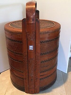 Antique Chinese Wedding Basket with Carved Handles and Woven Top and Sides #1