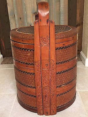 Antique Chinese Wedding Basket with Carved Handles and Woven Top and Sides #2