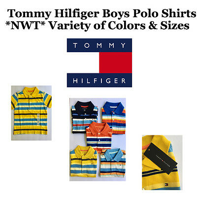 NWT TOMMY HILFIGER Boys Striped Polo Shirt Variety Colors & Sizes FREE SHIP