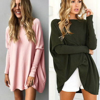 AU Plus Size Women Batwing Long Sleeve Loose T Shirt Jumper Pullover Tops Blouse