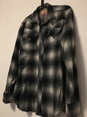1950's LEVIS Big E Flannel Black Grey Very Rare Great Condition Sz: Large