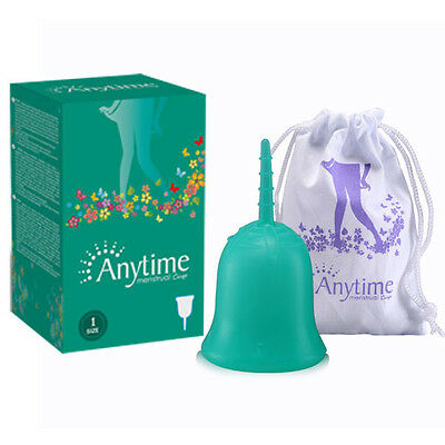 Anytime Premium Reusable Menstrual Cup Period Soft Medical Diva Cups Green S L