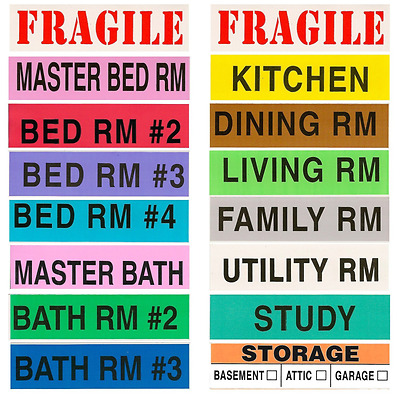 Tag-A-Room Color Coded Home Moving Box Labels, 800 Count 4 Bedroom House Pack..