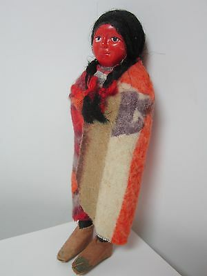 """Vintage 5 3/4"""" Skookum American Indian Child  Doll With Sweet Face"""